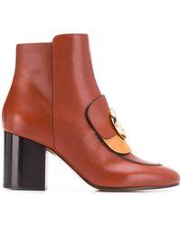 Chloé Heeled C-logo Boots - Multicolour