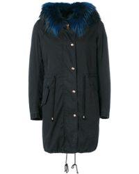 History Repeats Detachable Collar Parka Coat - Blue
