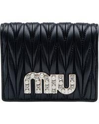 Miu Miu Quilted Logo Bi-fold Wallet - Black