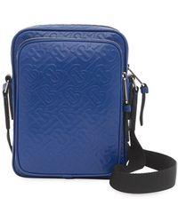 Burberry Monogram-embossed Messenger Bag - Blue
