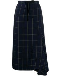 McQ High-waisted Check Print Skirt - Blue