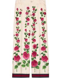 Gucci Rose Garden Print Silk Pyjama Pants