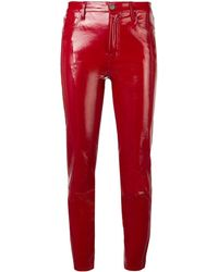J Brand Cropped Leather Pants - Red