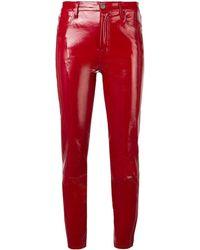 J Brand Cropped-Hose aus Leder - Rot