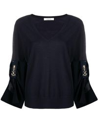 Lyst - Dorothee Schumacher Contrast-cuff Fitted Sweater in Black e5219a03a