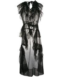 Simone Rocha Frilled Sheer Sleeveless Tunic - Black