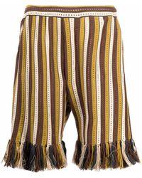 Cmmn Swdn Tassel-trim Pointelle-knit Shorts - Brown