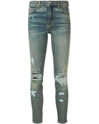 Amiri Side Stripe Distressed Jeans - Blue