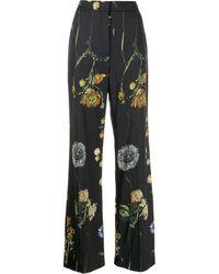Lela Rose Maggie Floral-print Trousers - Black