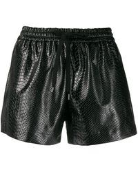 N°21 Snakeskin-effect Shorts - Black