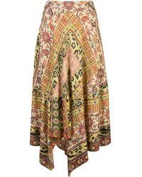 Etro Falda midi con estampado Carpet - Naranja