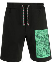 McQ Embroidered Patchwork Shorts - Black