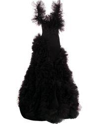 Loulou ラッフルチュール ドレス - ブラック