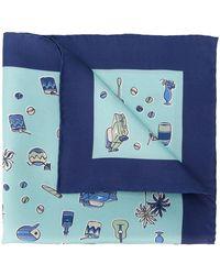 Kiton Mouchoir de poche imprimé - Bleu