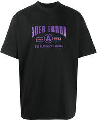 ADER error ロゴ Tシャツ - ブラック