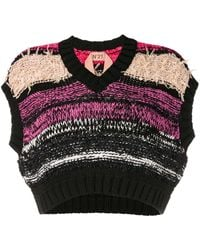 N°21 Cropped Chunky Knitted Top - Black