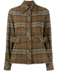 Marc Jacobs Plaid Belted Waist Shirt - Brown