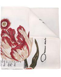 Oscar de la Renta Floral Jacquard Scarf - White
