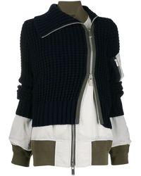 d5a08c09c Sacai Wool Half Blazer Half Bomber Jacket in Black - Lyst