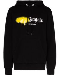Palm Angels Sprayed La Logo Popover Hoody - Black