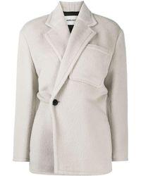 Ambush Off-centre Fastening Textured Jacket - White