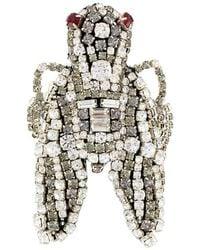 Rochas Embellished Brooch - Metallic