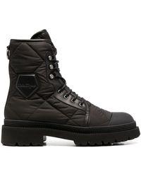 Ferragamo Стеганые Ботинки В Стиле Милитари - Черный