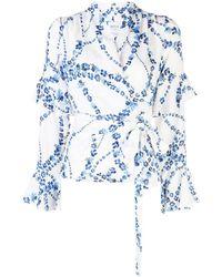 MISA Los Angles Floral-print Wrap Blouse - Blue