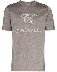 Canali Logo-appliquéd Cotton T-shirt - Grey