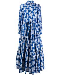 LaDoubleJ Bellini Pineapple Print Shirt Dress - Blue