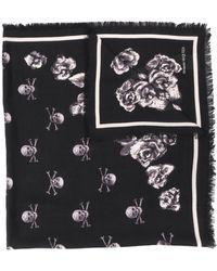 Alexander McQueen Sjaal Met Doodskop Print - Zwart