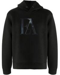 Emporio Armani Long-sleeved Logo Print Hoodie - Black