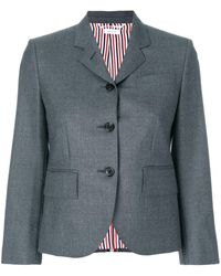 Thom Browne Center-back Stripe Sport Coat In Solid Wool Twill - Grijs
