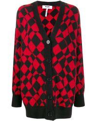 MSGM Graphic Print Cardi-coat - Red