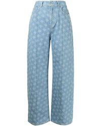 ROKH High-waisted Monogram-print Jeans - Blue