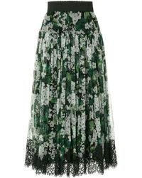 Dolce & Gabbana White Geranium Printed Pleated Skirt - Зеленый