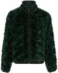 Moncler Grenoble - Drawstring Neck Knitted Mohair Blend Jacket - Lyst
