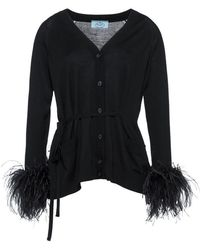 Prada - Feather-embellished Belted Cardigan - Lyst