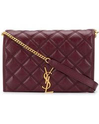 Saint Laurent Becky Diamond-quilted Bag - Red