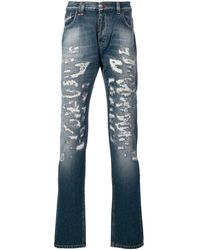 Philipp Plein Distressed Straight Jeans - Blue