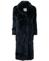 Urbancode - Double Breasted Fur Coat - Lyst
