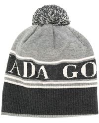 Canada Goose Logo Detail Bobble Hat - Gray