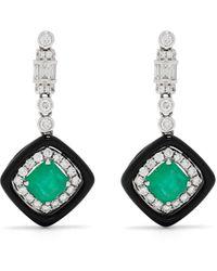 Monan 18kt White Gold Diamond Emerald Drop Earrings - Metallic