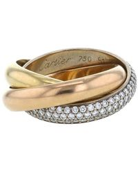 Cartier - 2011 Pre-owned Yellow, Rose And White Gold Trinity Medium Model Diamond Ring - Lyst