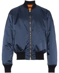 Balenciaga - Blue Rear Logo Embroidered Bomber - Lyst