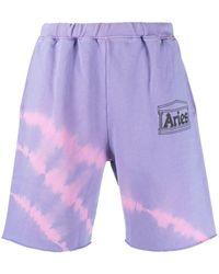 Aries Tie-dye Logo Shorts - Purple