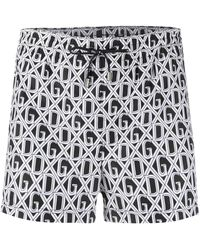 Dolce & Gabbana Monogram Swim Shorts - Black