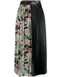 Junya Watanabe Floral Panel Pleated Skirt - Black