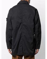 Stone Island Однобортное Пальто С Нашивкой-логотипом - Черный