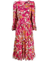 Saloni - Robe longue à fleurs - Lyst